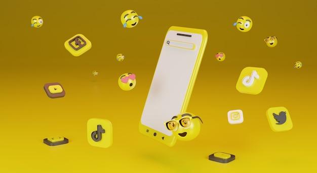 Smartphone avec icône emoji fond jaune photos premium