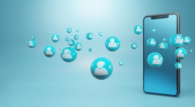 Smartphone avec des icônes humaines. concept de réseau social, rendu 3d