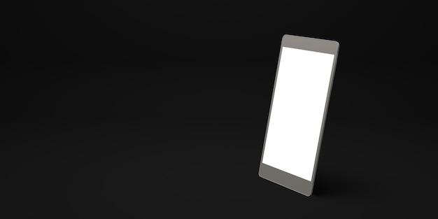 Smartphone avec illustration 3d de fond plat écran blanc