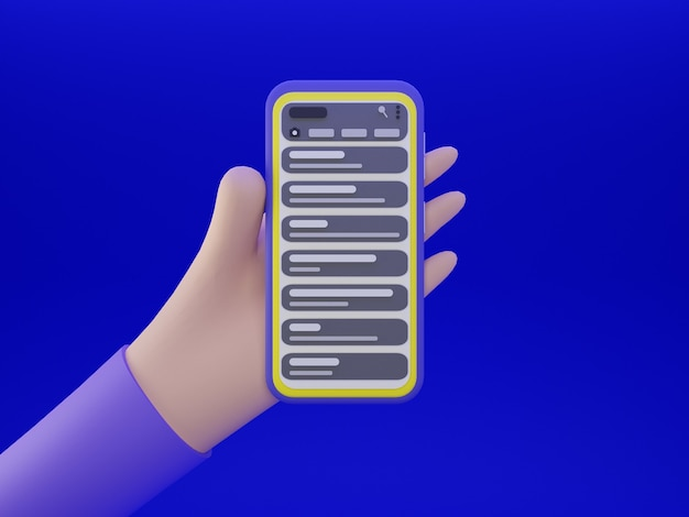 Smartphone en main avec application de discussion et fond bleu en conception 3d