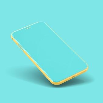 Smartphone maquette couleur jaune et bleue isolée