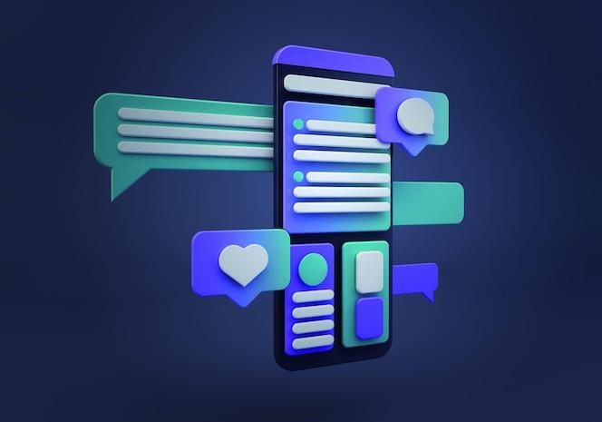 smartphone de médias sociaux