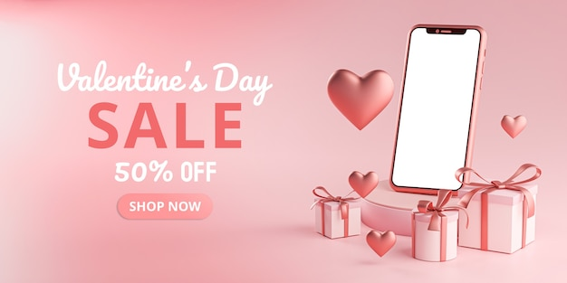Smartphone mockup valentine day sale love heart shape and gift box rendu 3d