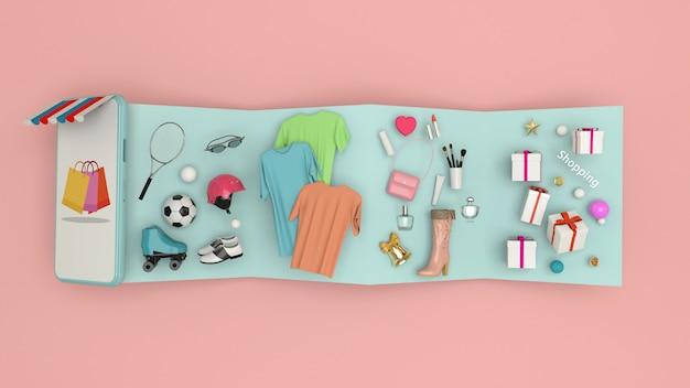 Smartphone pour entrer du contenu entouré de sacs, paniers et rendu 3d