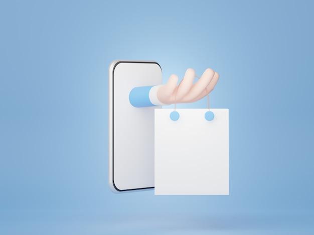 Smartphone de rendu 3d avec concept d'achat en ligne produit de vente en direct sur l'application de la plate-forme