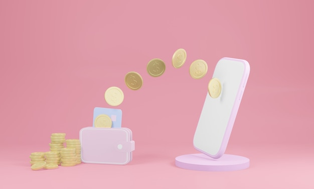Smartphone de rendu 3d envoyant des pièces à un portefeuille sur fond rose