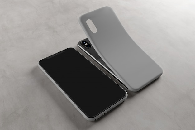 Smartphone screen and case - rendu 3d