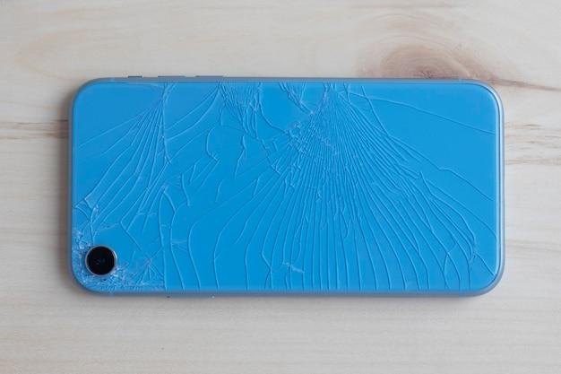 Smartphone en verre arrière brisé