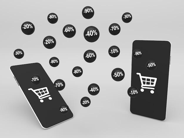 Smartphones 3d et sphères noires volantes avec pourcentage de remise