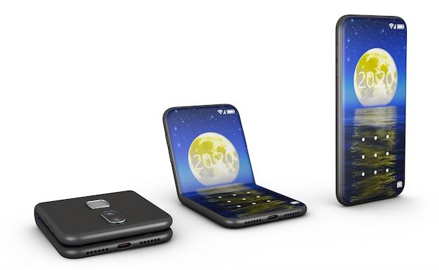 Smartphones flexibles dans la forme pliée et non pliée.
