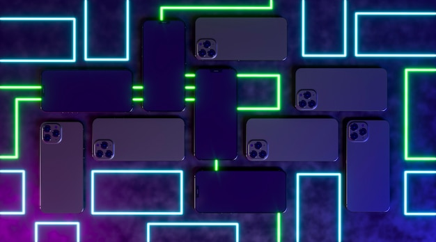 Smartphones avec néon plat lay