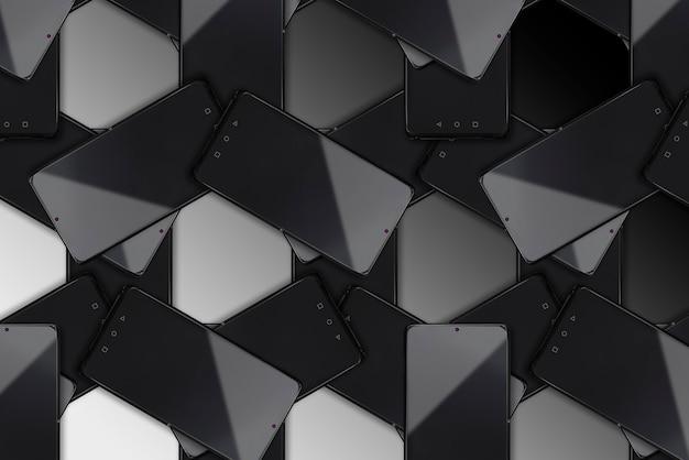 Smartphones noirs sur fond noir-black friday, concept cyber monday