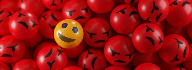 Smile emoji entre un tas de bannière d'émoticônes en colère