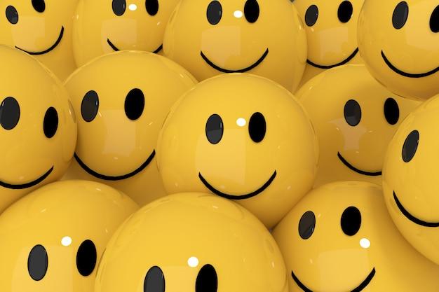 Smileys jaunes dans les médias sociaux concept rendu 3d