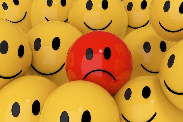 Smileys jaunes et rouges dans le rendu 3d de concept de médias sociaux