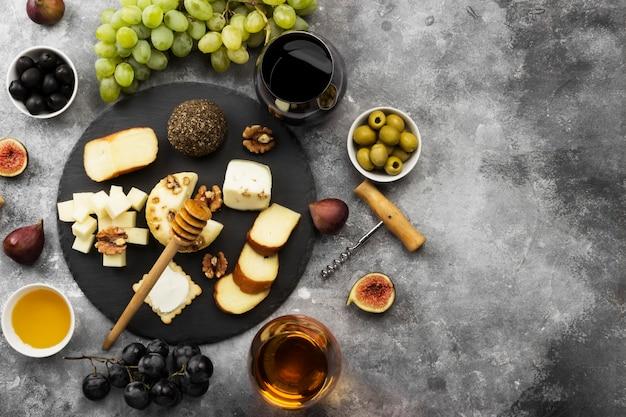 Snacks avec du vin