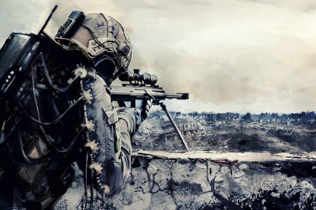 Sniper de l'armée futuriste