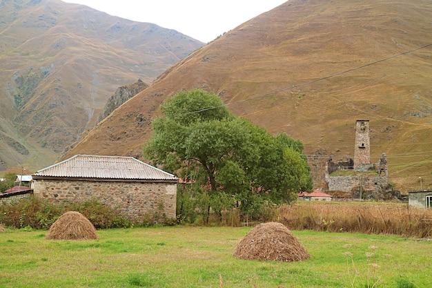 Sno village avec tour médiévale svan dans le caucase, la municipalité de kazbegi en géorgie