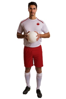 Soccer futebol canadien dans l'espace blanc