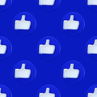 Social comme modèle sans couture de concept minimal. rendu 3d. comme icône sur un cercle bleu