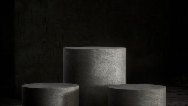 Socle en béton pour exposition de produits dans une pièce sombre
