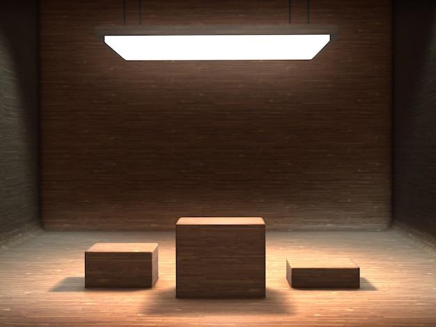 Socle en bois à afficher dans une pièce vide en bois avec lumière du dessus