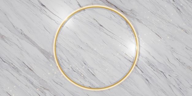 Socle de cercle de marbre lueur dorée support de produit et cadre de texte illustration 3d luxueuse