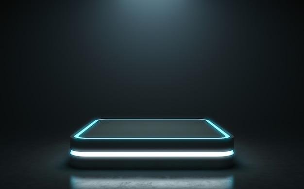 Socle futuriste pour l'affichage. podium vierge pour le produit. rendu 3d