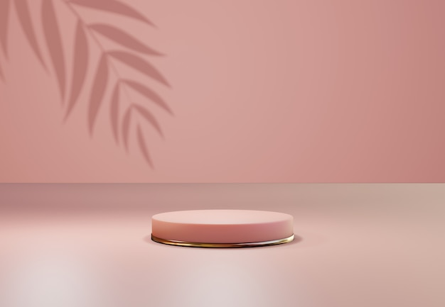 Socle en or rose sur fond naturel pastel