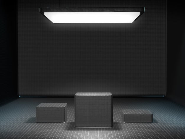 Socle pour l'affichage dans une pièce vide avec une lumière d'en haut