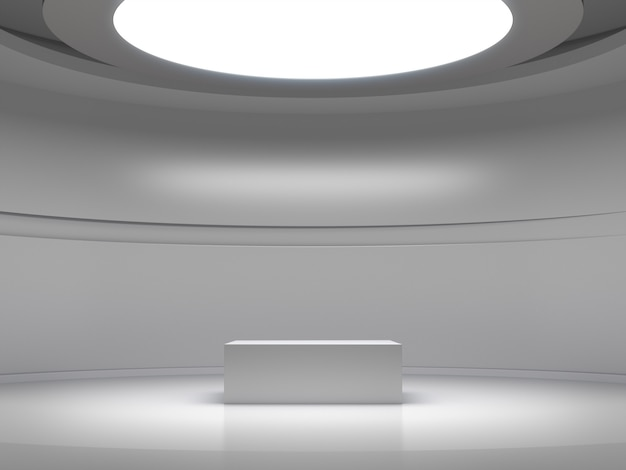 Socle pour affichage dans une salle blanche vide avec des lumières d'en haut, support de produit vide.
