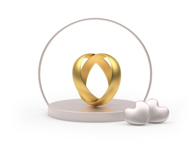 Socle rond avec anneaux de mariage en forme de coeur