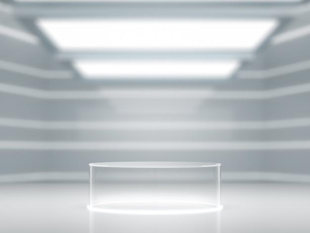 Socle en verre pour vitrine de produits en laboratoire.
