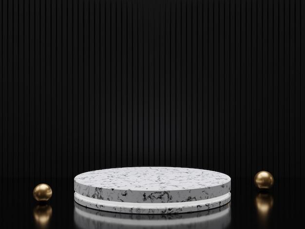 Socles ou podiums en marbre avec cadres dorés et décor rendu 3d
