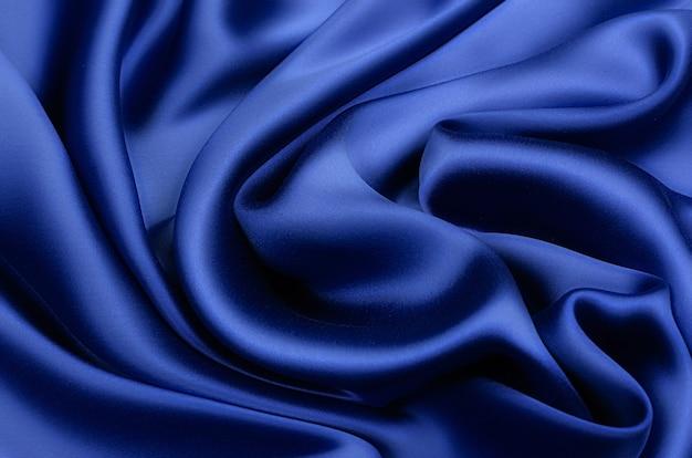 Soie, tissu satiné bleu
