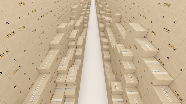 Soigneusement empilés dans une rangée de boîtes aux lettres illustration 3d