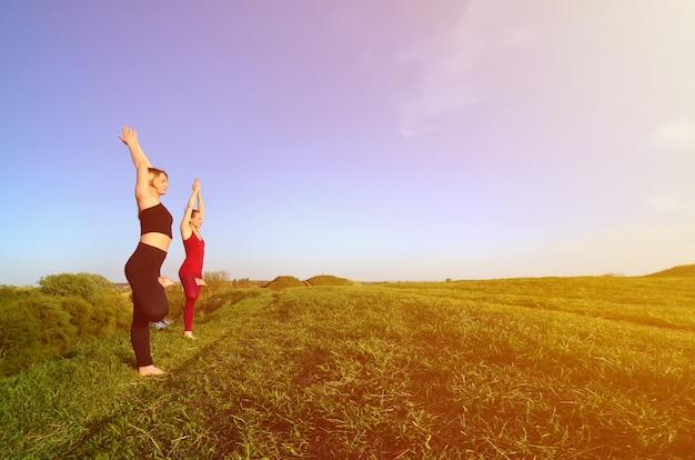 Le soir, deux jeunes filles blondes en costume de sport pratiquent le yoga sur une colline verdoyante et verdoyante.