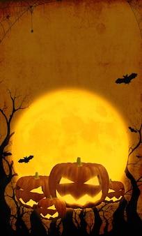 Soirée de sortie de fantôme sur citrouille heureuse d'halloween sur fond d'halloween orange