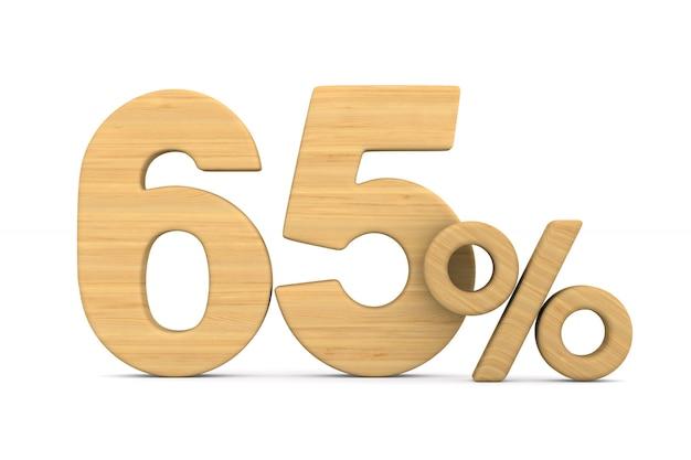 Soixante-cinq pour cent sur fond blanc.