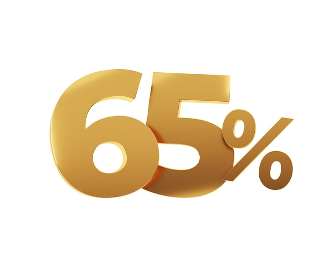 Soixante cinq pour cent d'or sur fond blanc. illustration de rendu 3d.