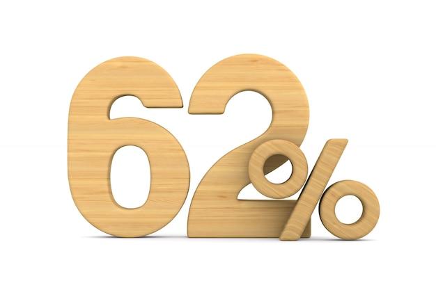 Soixante-deux pour cent sur fond blanc.