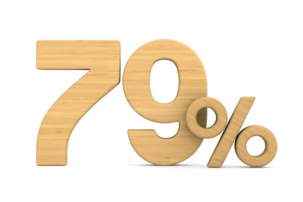 Soixante dix neuf pour cent sur fond blanc.