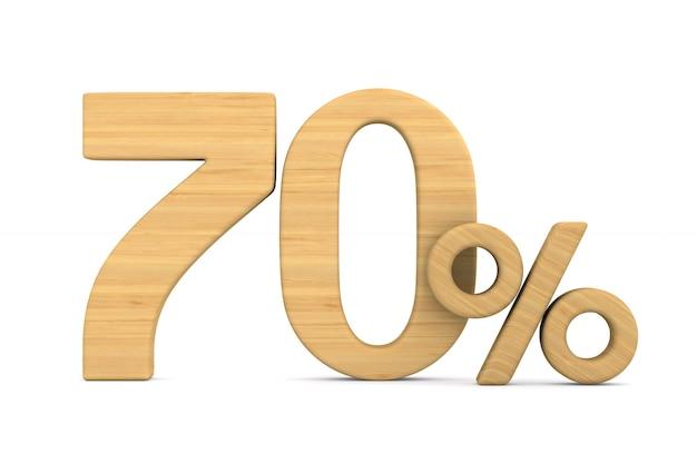 Soixante-dix pour cent sur fond blanc.