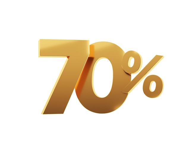 Soixante-dix pour cent d'or sur fond blanc. illustration de rendu 3d.