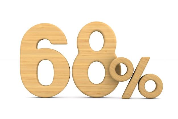 Soixante-huit pour cent sur fond blanc.