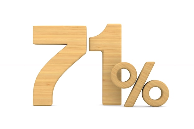 Soixante et onze pour cent sur fond blanc.
