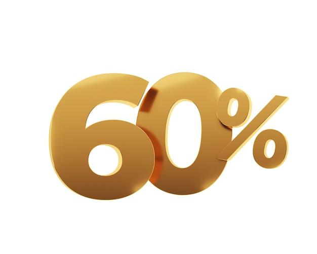 Soixante pour cent d'or sur fond blanc. illustration de rendu 3d.