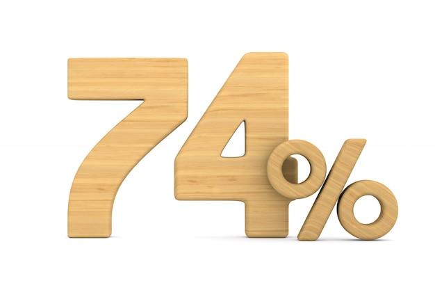 Soixante-quatorze pour cent sur fond blanc.