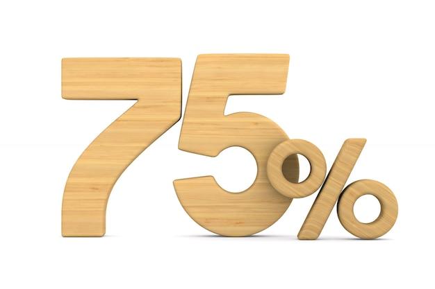 Soixante-quinze pour cent sur fond blanc.