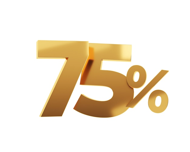 Soixante-quinze pour cent d'or sur fond blanc. illustration de rendu 3d.